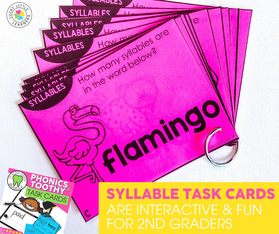 syllable task cards are interactive and fun for 2nd graders