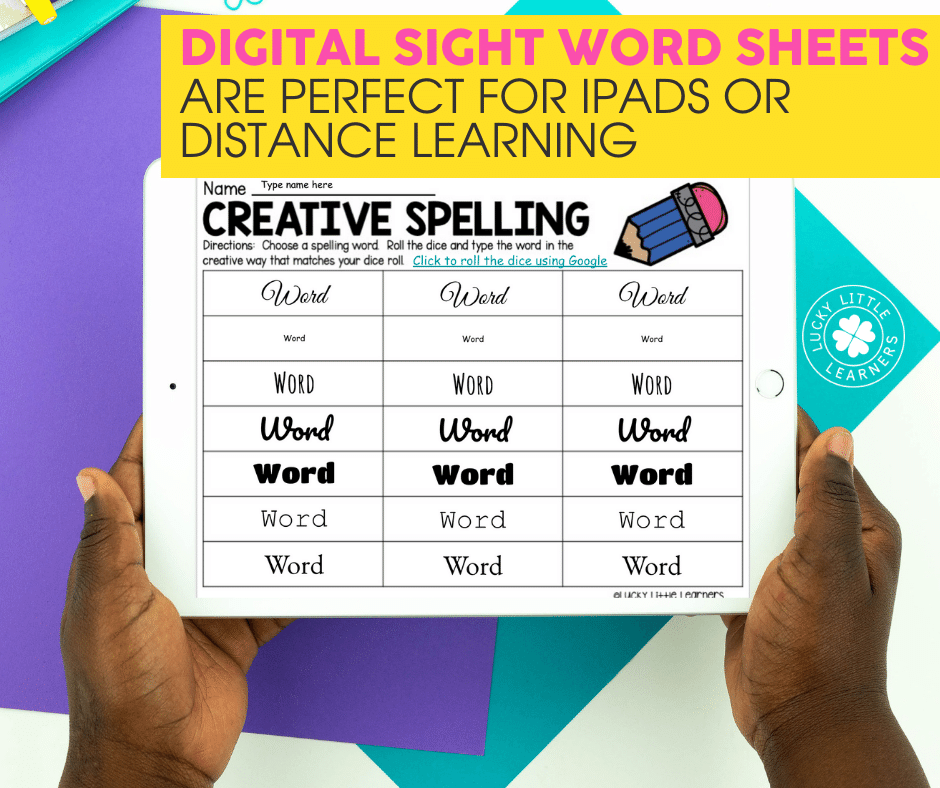 digital sight word sheets are perfect for ipads or distance learning