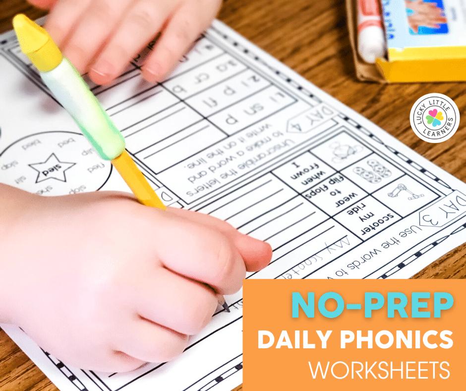 no prep daily phonics worksheets