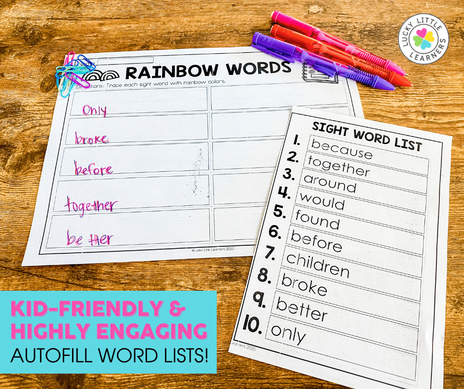 creative rainbow words sight words activity to use with any list