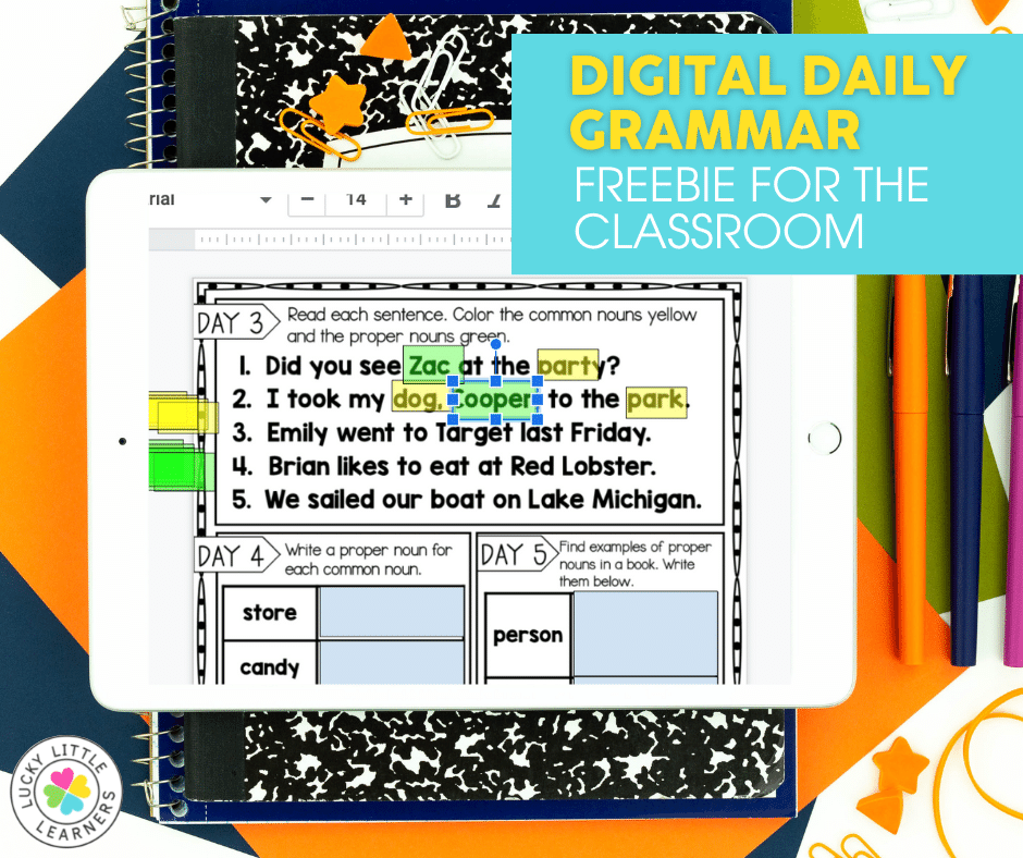 digital daily grammar freebie for the 2nd grade classroom