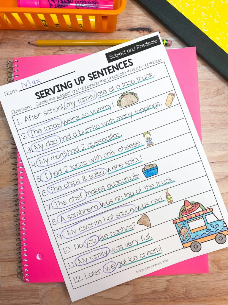 fall early finisher subject and predicate sheet for 2nd grade