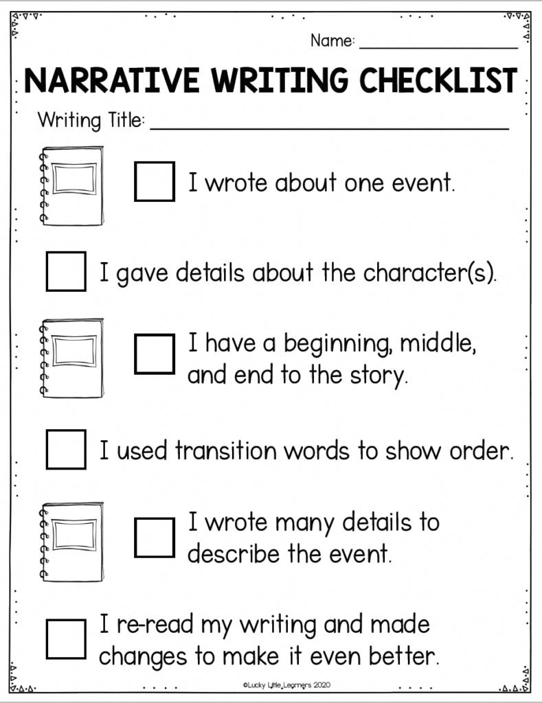 narrative writing checklist from the lucky little toolkit