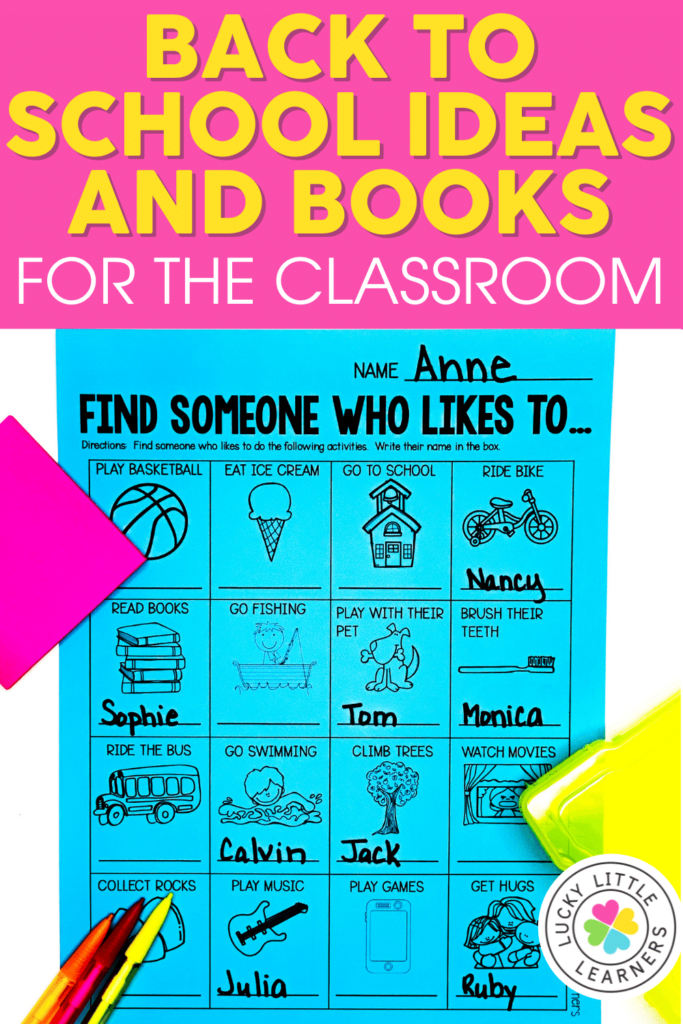 back to school activities and read alouds