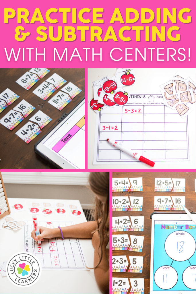 back to school addition and subtraction math centers for 1st and 2nd grade