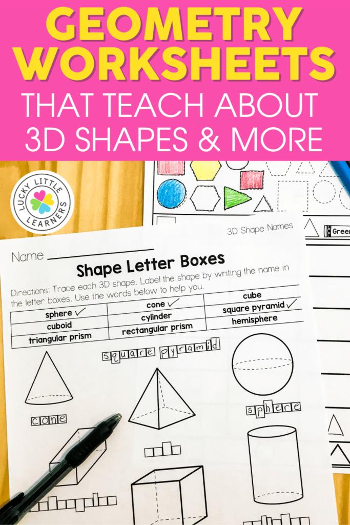 3D shapes geometry worksheets