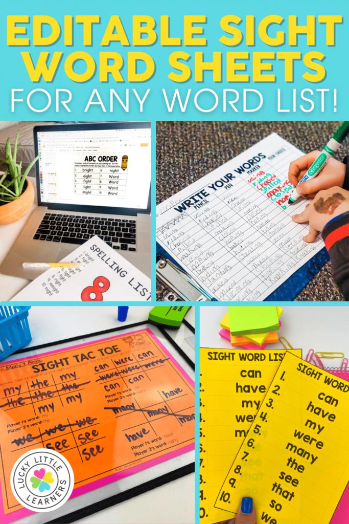 27 editable sight word worksheets