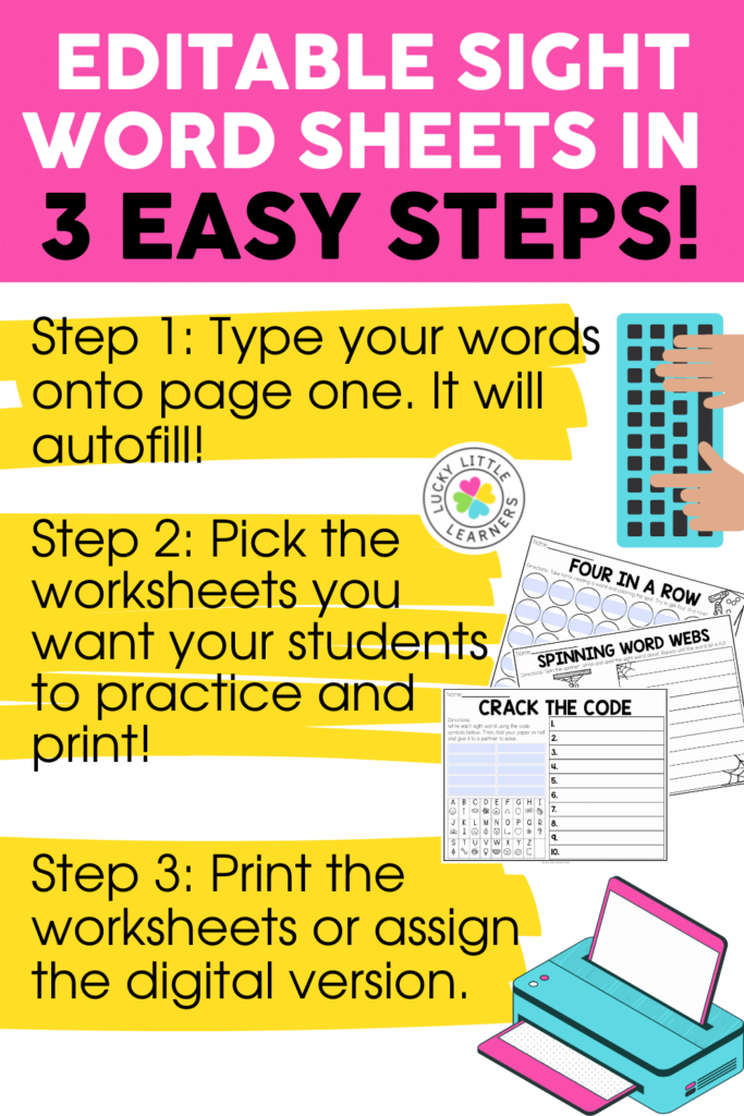 editable sight word sheets step by step directions for using autofill