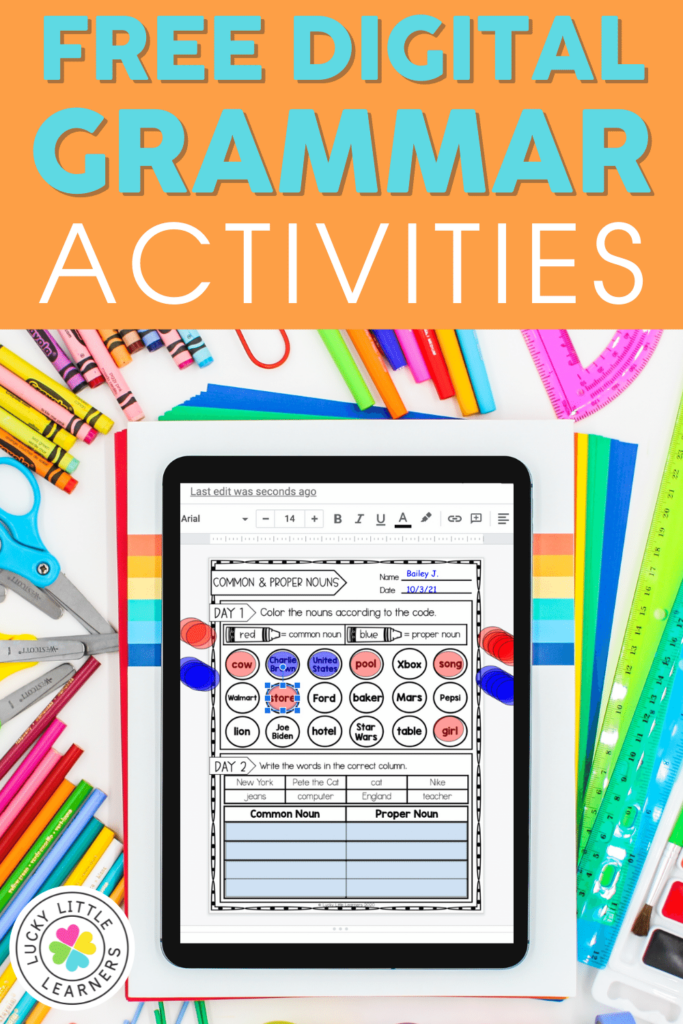 free digital and printable grammar activities