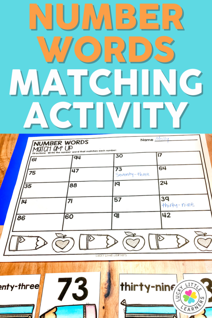 number words matching math center activity for 1st and 2nd grade