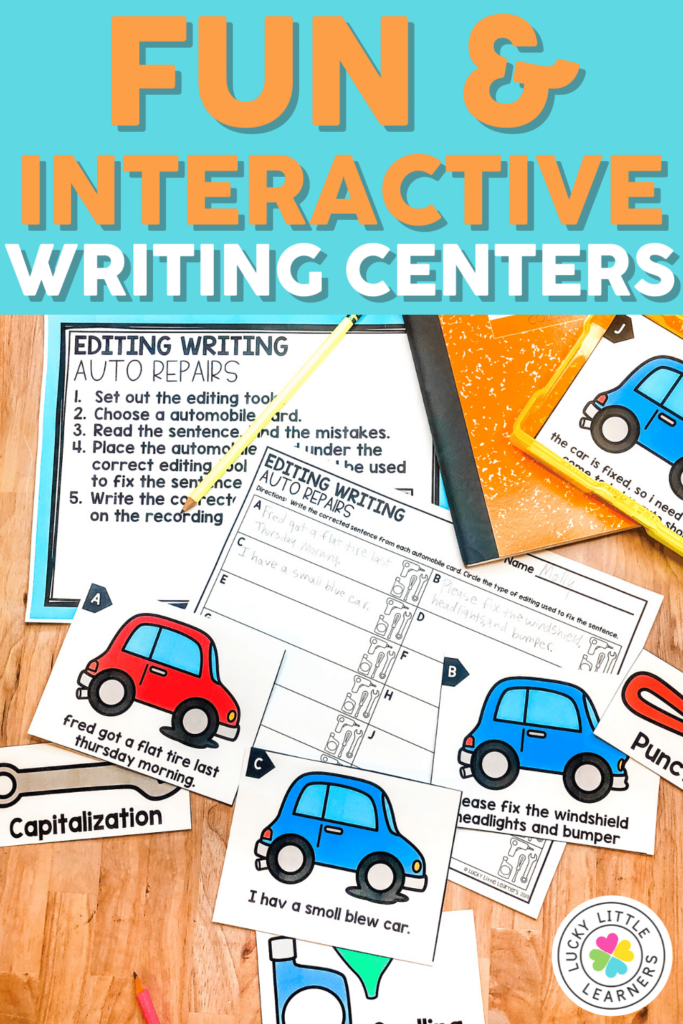 editing writing literacy center for 2nd grade
