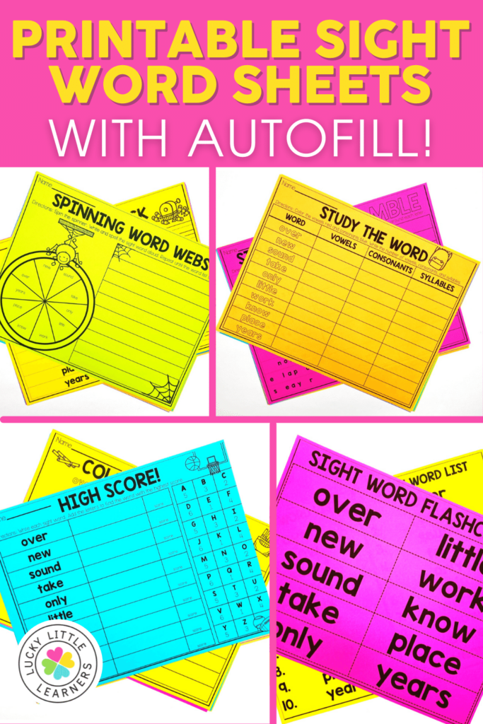 printable sight word sheets that autofill with any word list