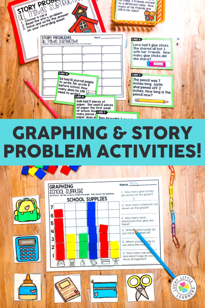 graphing and story problem math center activities for 2nd grade