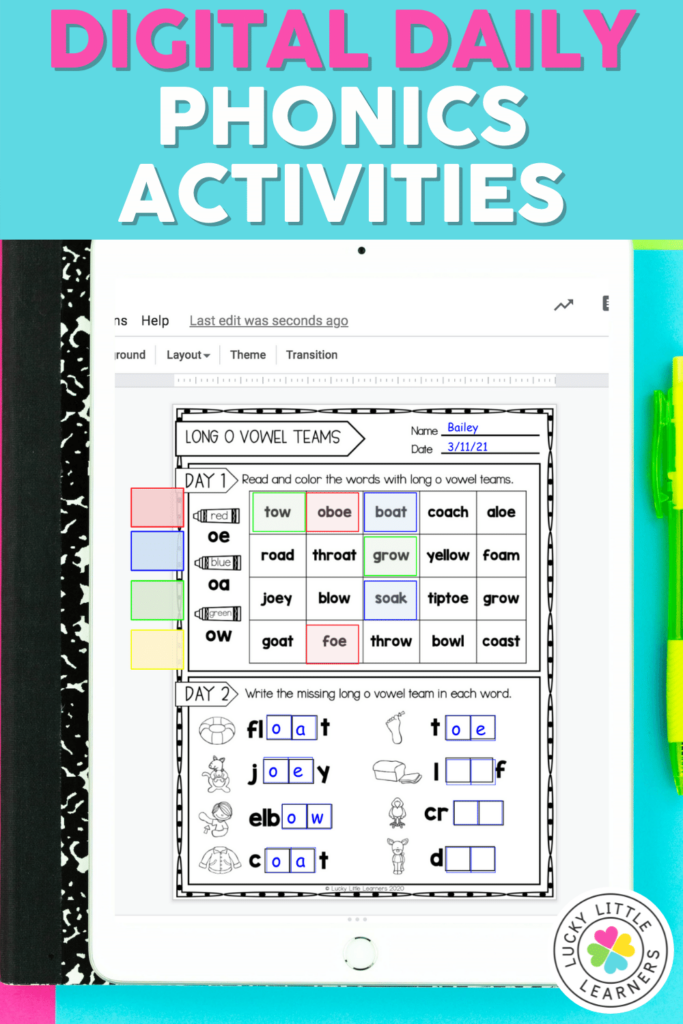 digital daily phonics review activities