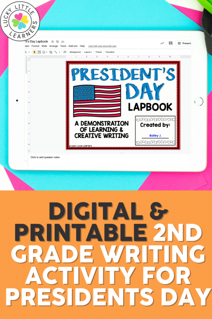 digital and printable 2nd grade writing activity for presidents day