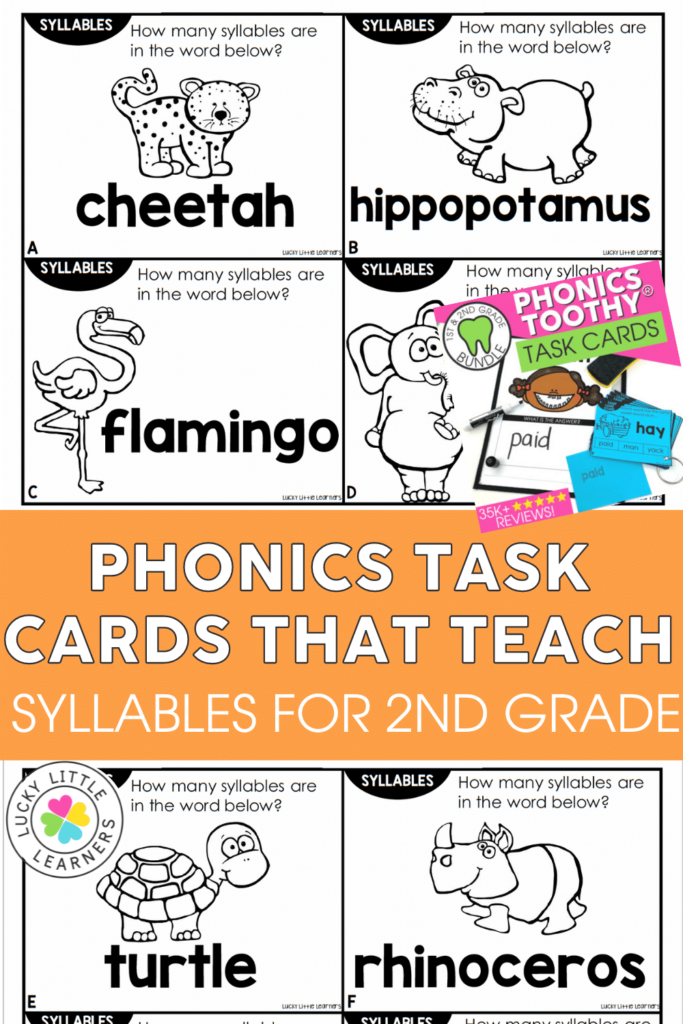 Phonics task cards that teach syllables in 2nd grade