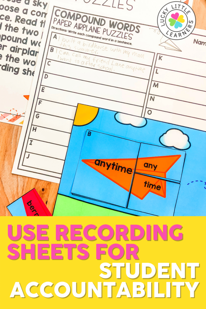 hold students accountable for the time spent engaged in literacy centers for 2nd grade with recording sheets for each activity