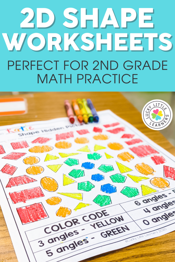 2D shape geometry review worksheets for 2nd grade