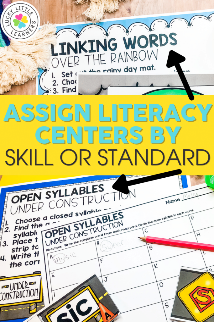 Lucky Little Learners literacy centers for 2nd grade are organized by skill and standard so they can be used all year long