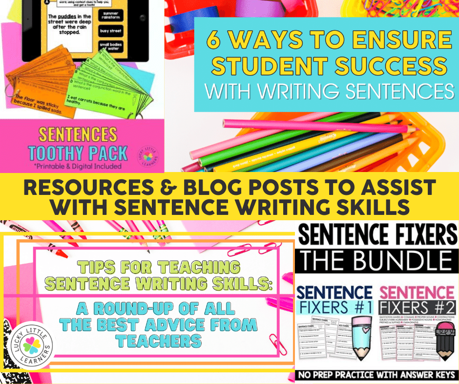 resources for teaching students to write complete sentences