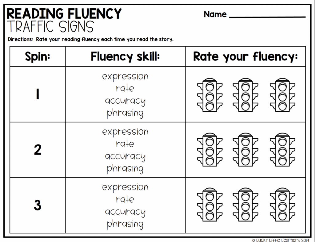 Reading Fluency Traffic Signs