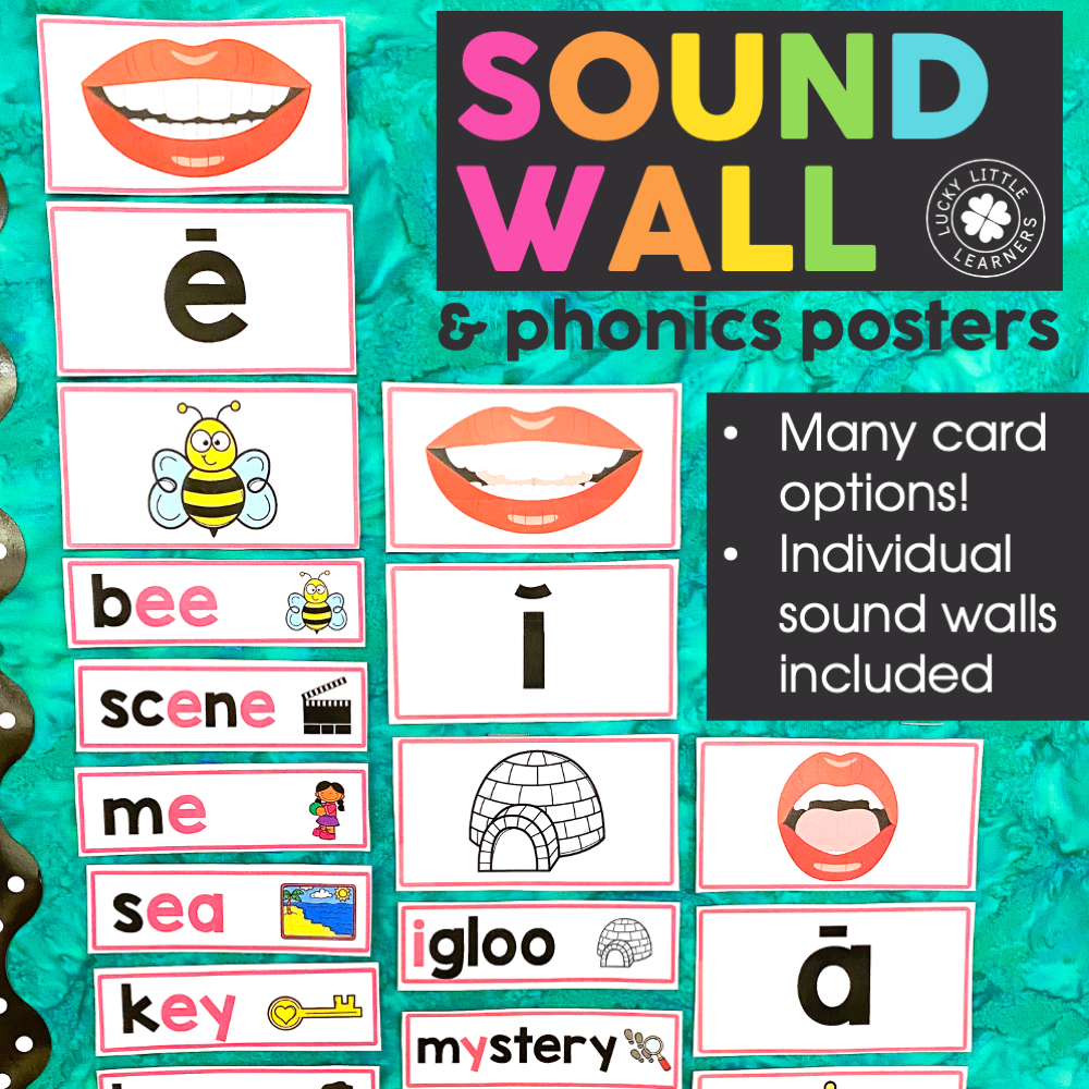classroom sound wall and phonics posters pack by Lucky Little Learners