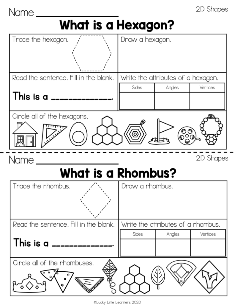 hexagon and rhombus geometry worksheets for 2nd grade
