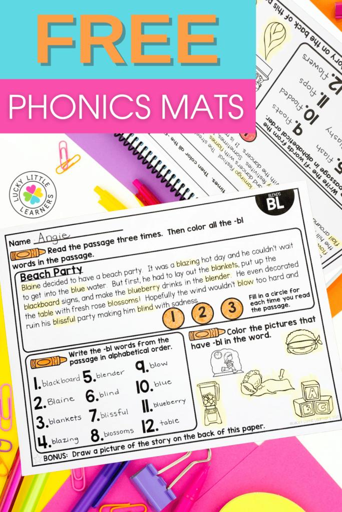free phonics mats