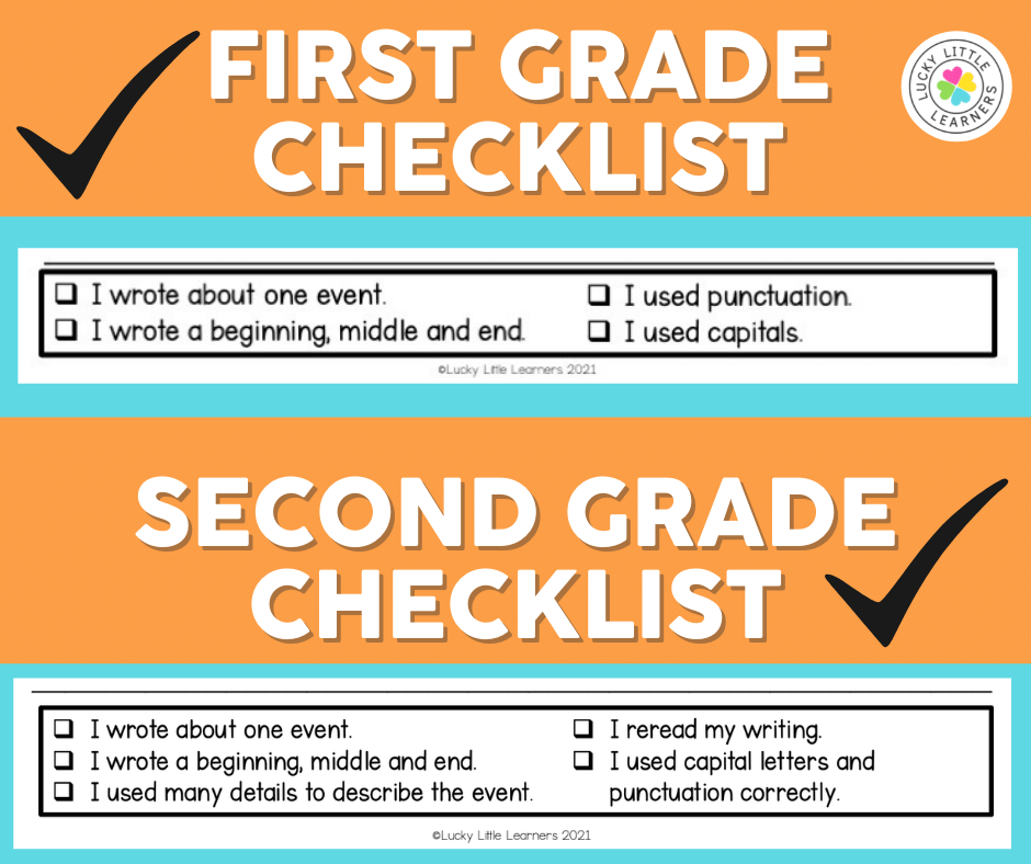 first and second grade writing checklists