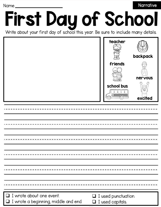 narrative writing prompt with first grade handwriting lines and vocabulary in a box