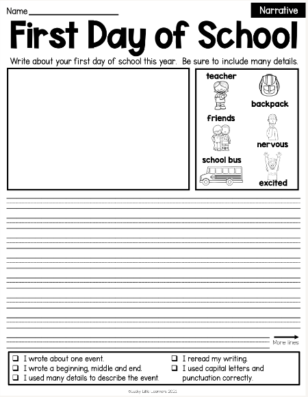 narrative writing prompt with second grade handwriting lines and vocabulary in a box