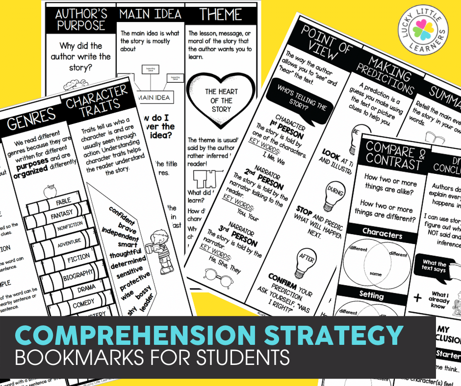 comprehension strategy bookmarks