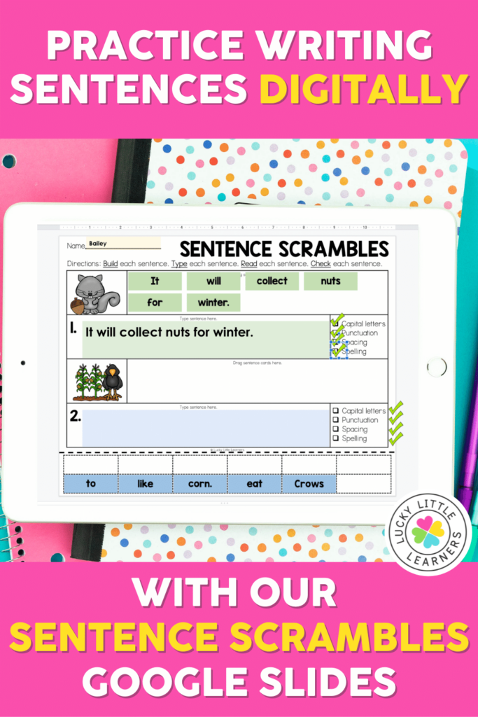 digital sentence writing activity