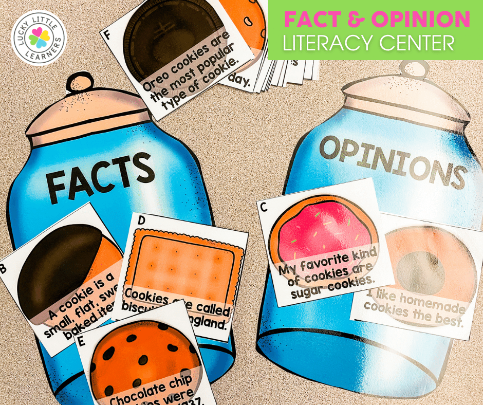 fact and opinion cookie jar literacy center for 2nd grade
