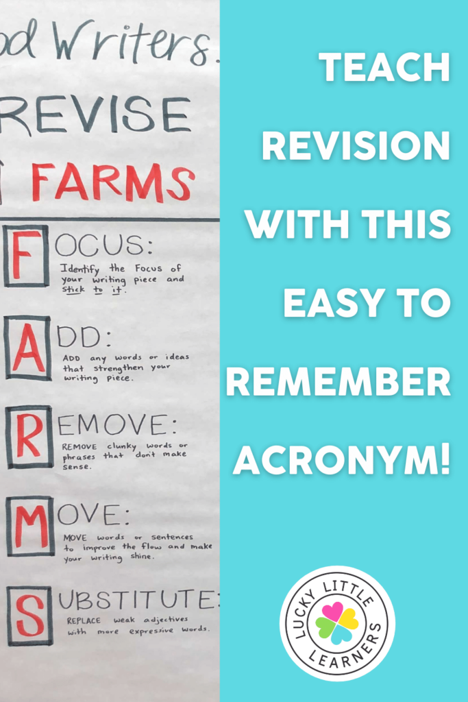 FARMS acronym to help students get into the habit of revising their writing