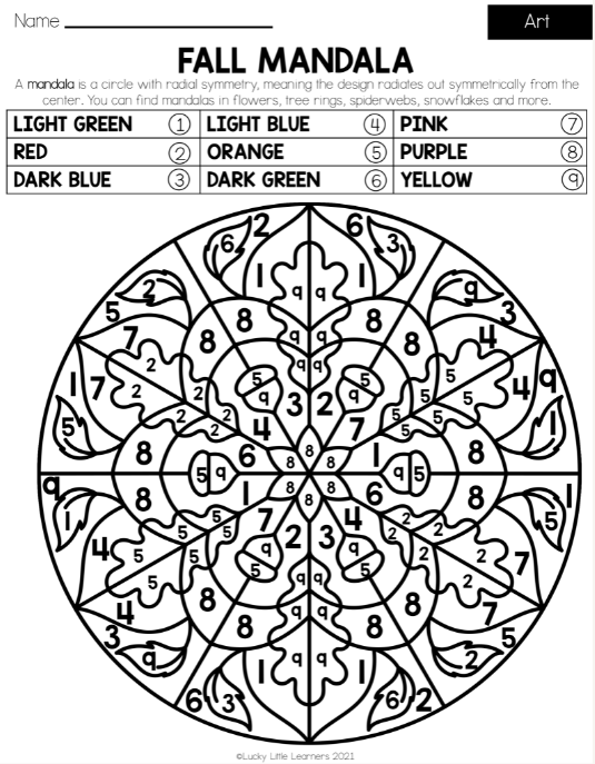fall mandala art sheet from the Lucky Little Learners fall early finisher pack
