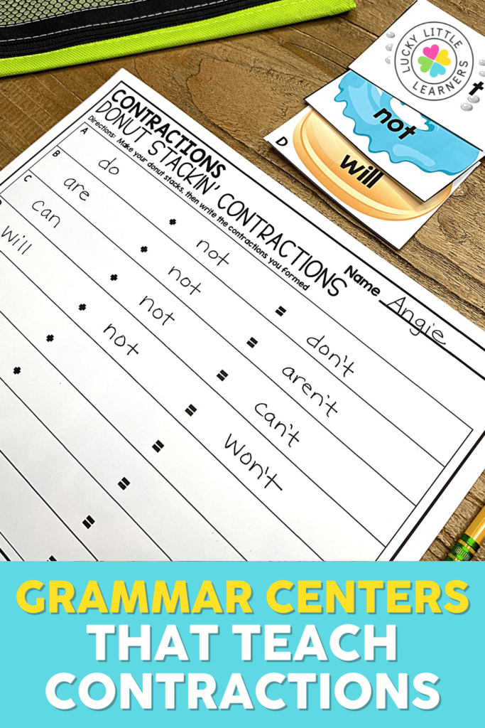donut stacking contractions game to use as a grammar center in a 2nd grade classroom