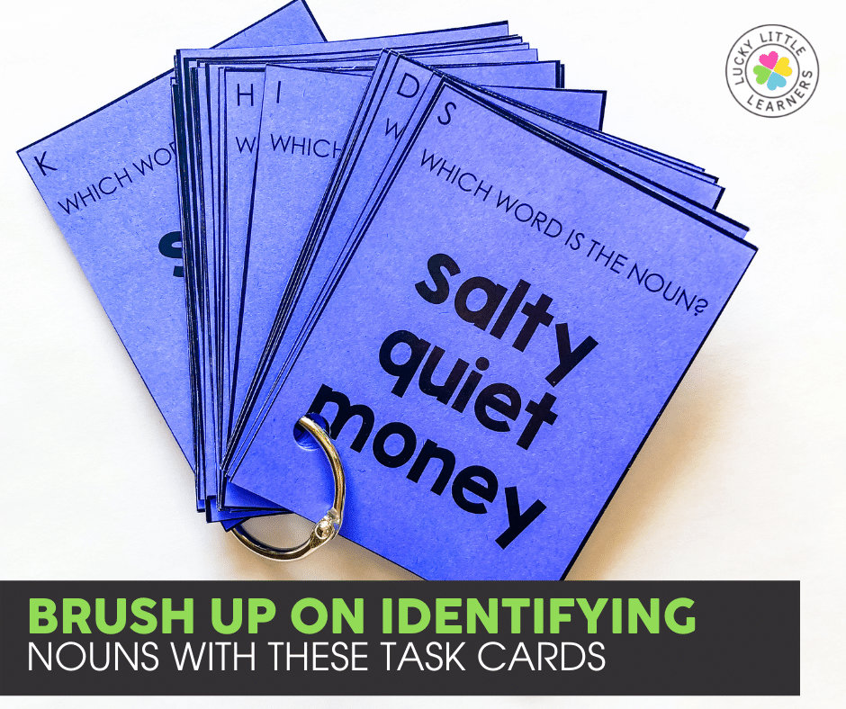 noun identification task cards for 2nd and 3rd grade