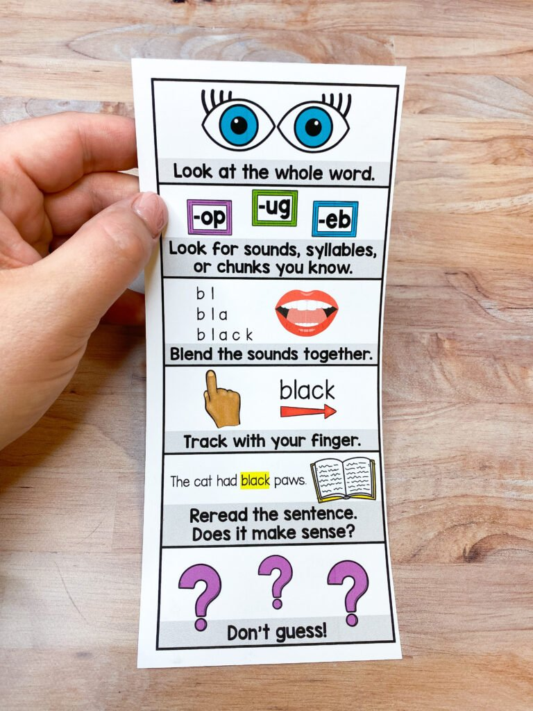 decoding strategy bookmarks to use in literacy intervention lessons