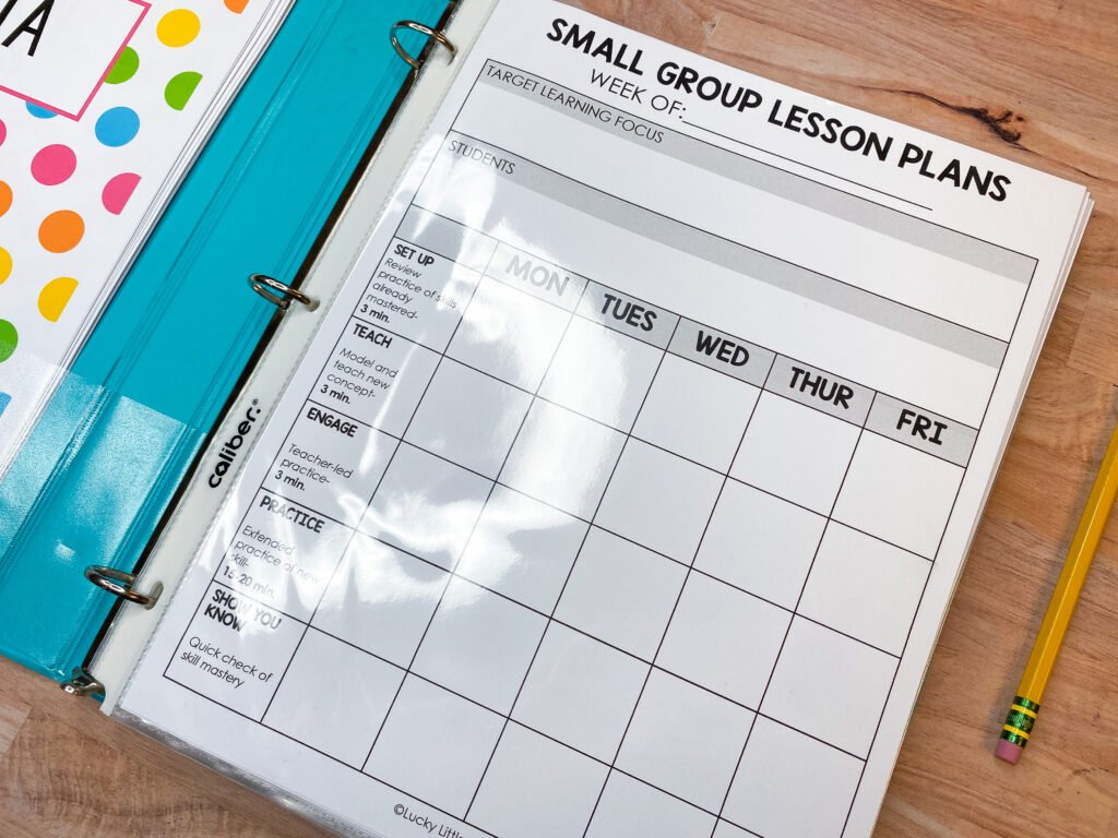 small group and intervention literacy planning template
