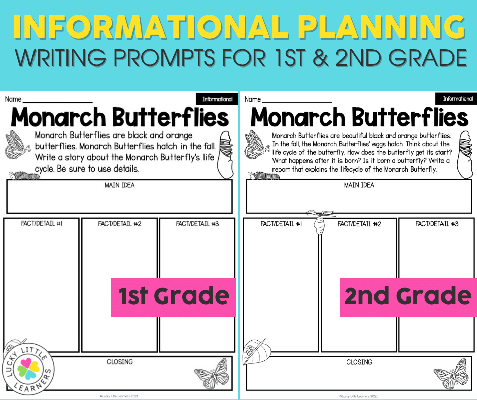informational writing prompts and planning pages differentiated for first and second grades