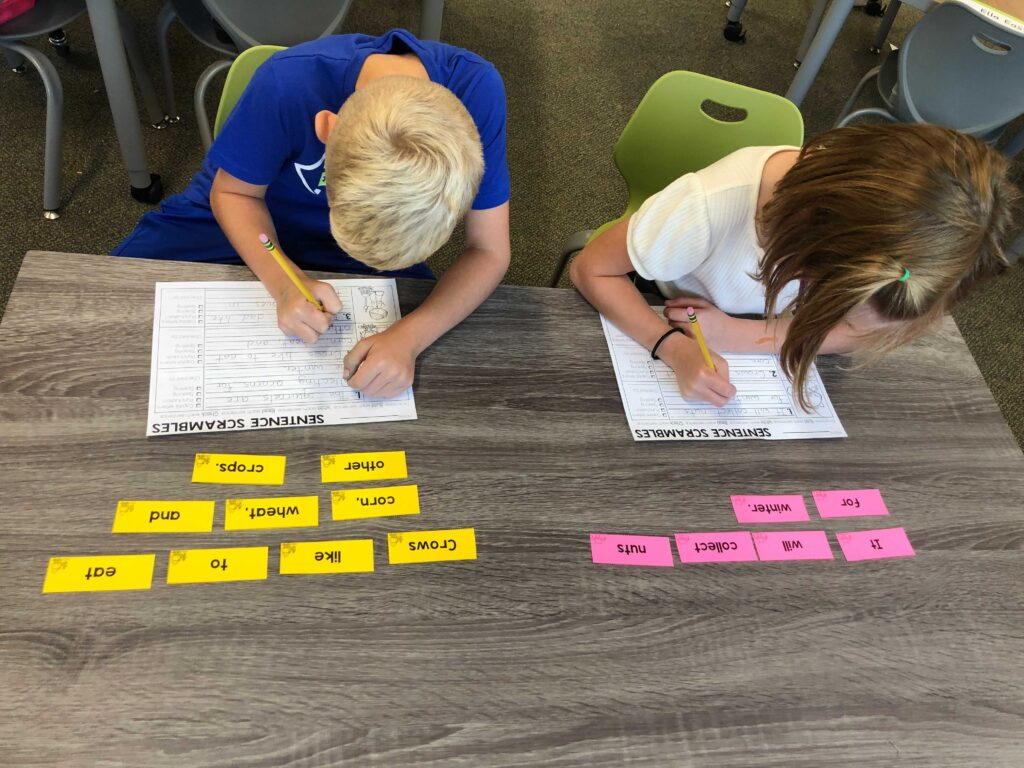 1st grade students using two levels of sentence scrambles from lucky little learners