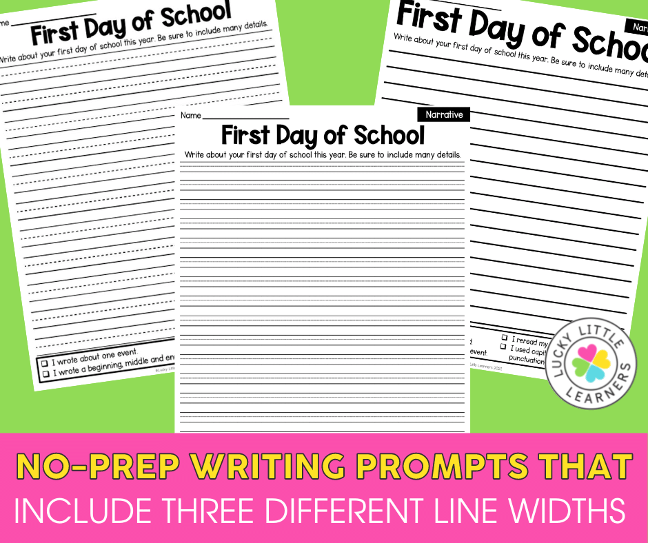 three options for handwriting lines with the lucky little learners no prep writing prompts