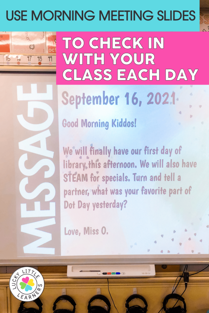 morning meeting slides to check in with the class each day
