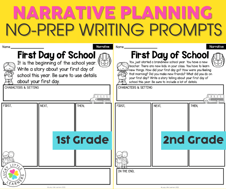 narrative writing prompts and planning pages differentiated for first and second grades