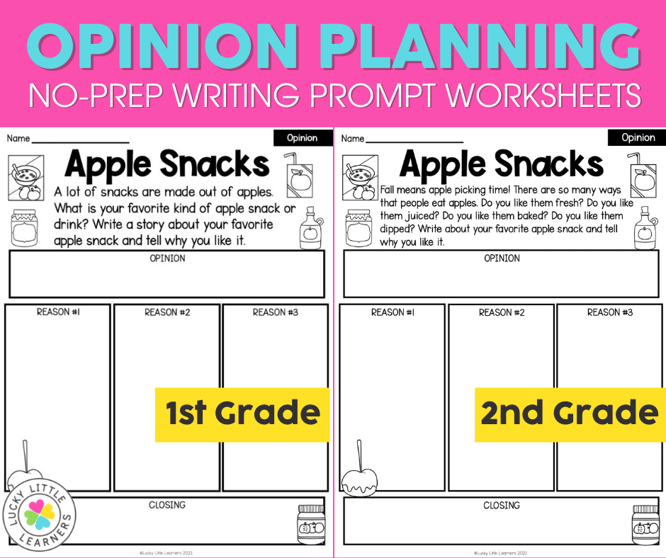 Opinion writing prompts and planning pages differentiated for first and second grades