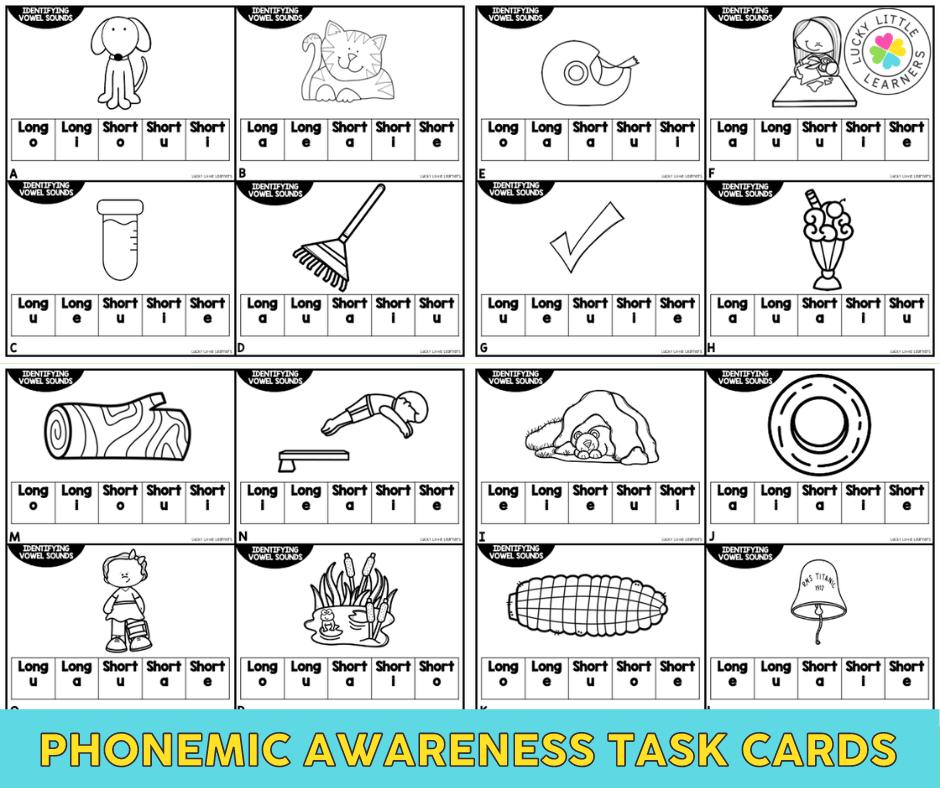 phonemic awareness task cards for practicing medial vowel sounds