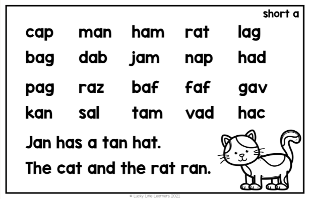 short a phonics word and sentence practice card