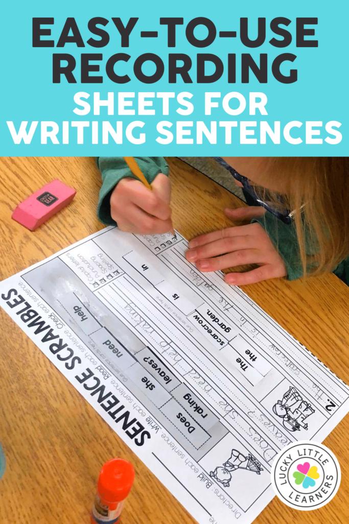 sentence writing practice sheets