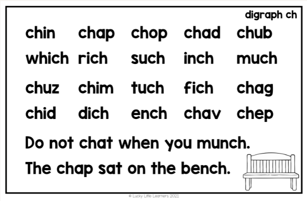/ch/ digraph phonics word and sentence card for practicing reading fluency